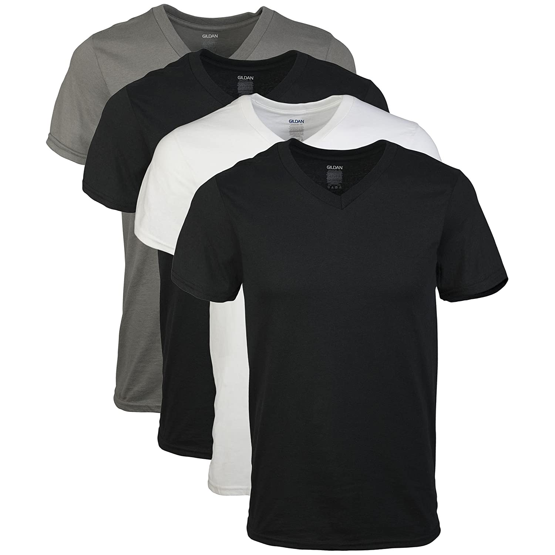 Gildan Men's Assorted V-Neck T-Shirts 4 Pack, Multi, XX-Large