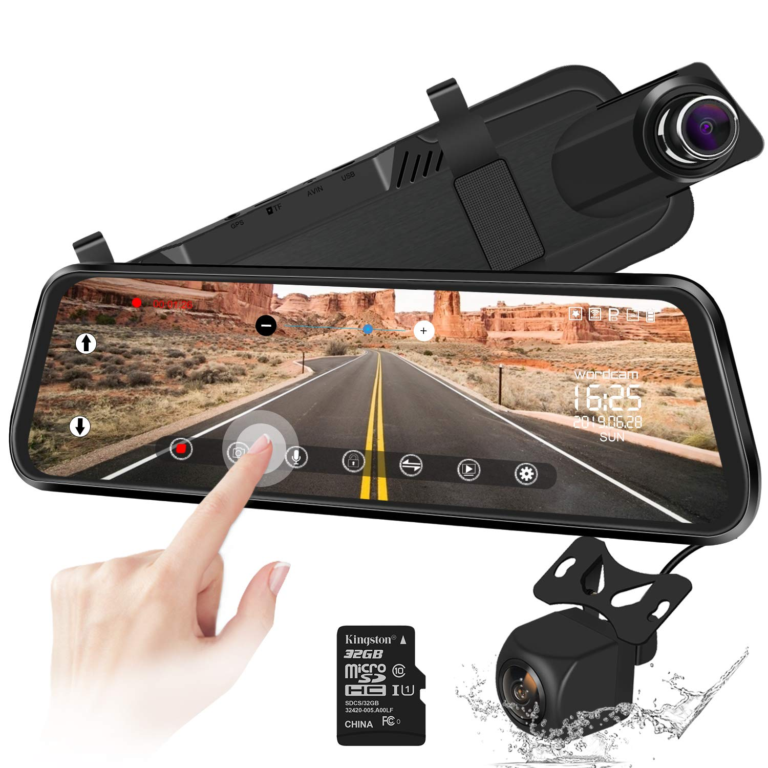 10'' Mirror Dash Cam Backup Camera Full Touch Screen Video Streaming Mirror Camera 170° 1080P Front and 150° 1080P Rear View Camera Dual Lens with Night Vision & Parking Monitor (Free 32GB SD Card) by Wordcam
