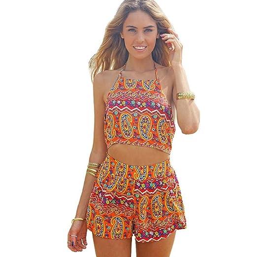 083f6452ff84 SMTSMT Women Floral Backless Frenum Chiffon Bodycon Jumpsuit Short Pant (S)