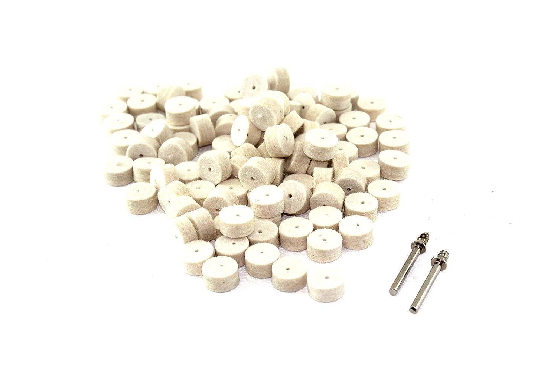 TEMO 100p Felt Polishing Wool Bob Burr 1/2 inch (13mm) Diameter 1/4 inch (6mm) High Wheels #414 with 2 screw mandrel 401 1/8 inch (3mm) Shank for Dremel and Compatible Rotary Tool