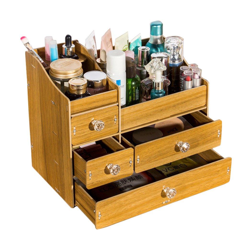 Cosmetic Storage Box,DIY Wooden Desktop Drawer Type Storage Shelf Dressing Table Finishing Box (Color : Dark wood color)