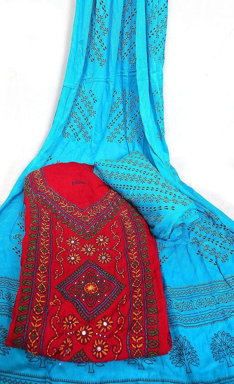 4a329cd966 Amazon.com: Women's Pure Cotton Unstitched Dress Material | Gujarati Gujri  Banjara Bandhani Bandhej Print | Kutch Kantha Work Salwar Suit: Clothing