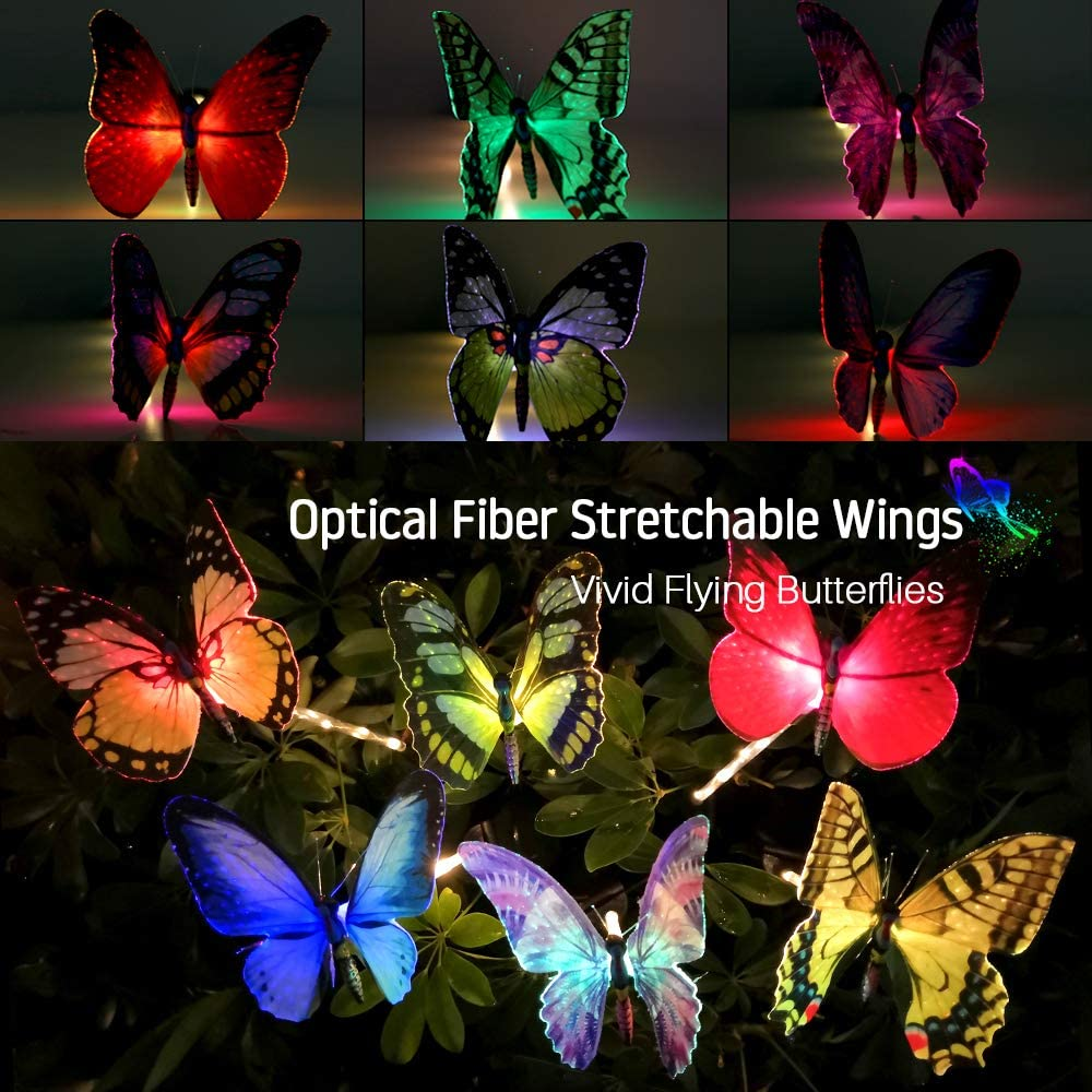 Spring Housewarming Garden Gifts for Women. Garden Yard Butterfly Stakes Decorations Ornaments Outdoor TekHome Solar Lights Outdoor 3 Pack Solar Powered Garden Lights Decorative Colour Changing