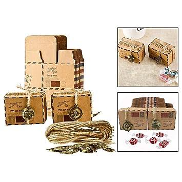 OFKPO 50PCS Cajas para Dulces Bombones Caja Kraft, para Invitados de Boda Fiesta Comunion Graduación Decoración Favor Boda: Amazon.es: Electrónica
