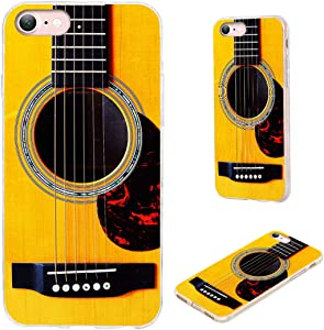 iPhone 8 Case,iPhone 7 Case,iPhone SE 2020 Case,VoMotec Shockproof Slim Flexible Soft TPU Protective Skin Cover Case for Apple iPhone 7/8/SE 2020 (4.7 inch),Funny Music Design Yellow Acoustic Guitar