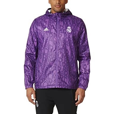 e26bb10a5 adidas Men's Real Madrid Windbreaker Soccer Jacket Hoodie (Purple) (Medium)  Ray Purple