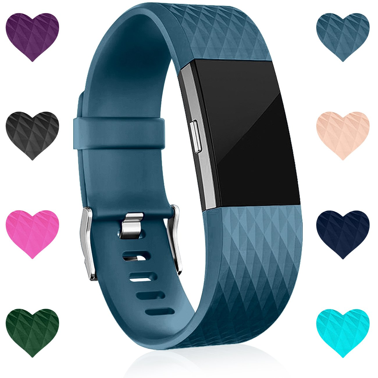 Wepro Fitbit Charge 2バンド、交換用for Fitbit Charge HR、バックル、15色、S、L 2 Large|09-Black/Navy Blue/Slate Blue 09-Black/Navy Blue/Slate Blue Large B078VNJHN6