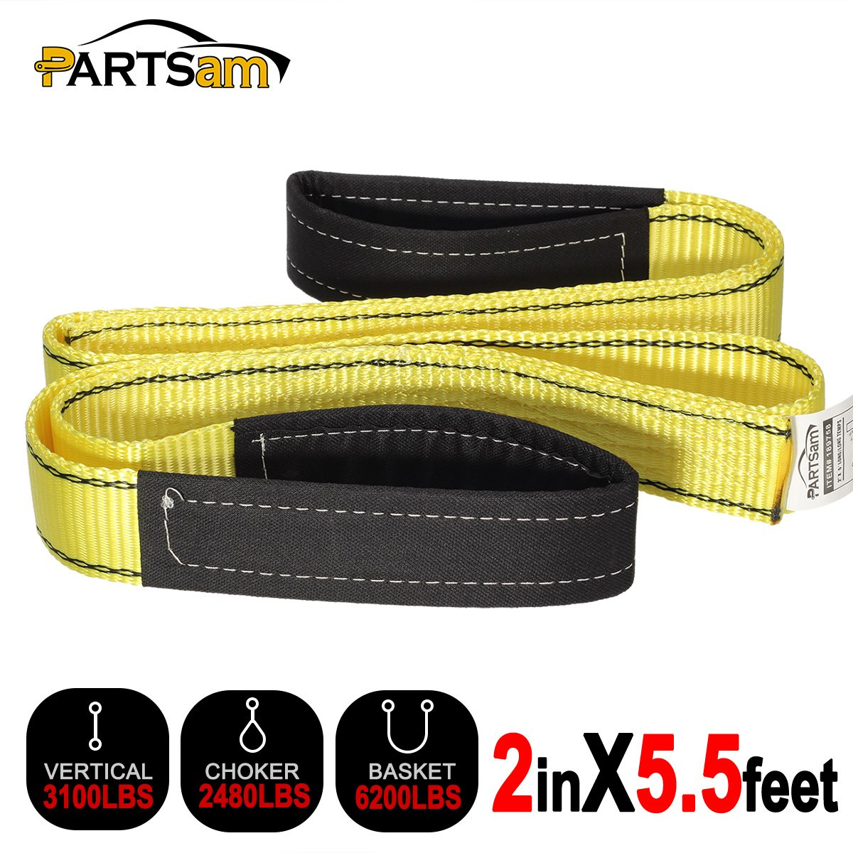 Premium Crane Towing Strap 5.5feet x 2inch Durable 3400Dtex - Heavy Duty Web Sling - Corrosion Resistance Polyester Industrial Flat Eye-Eye Ropes by Partsam