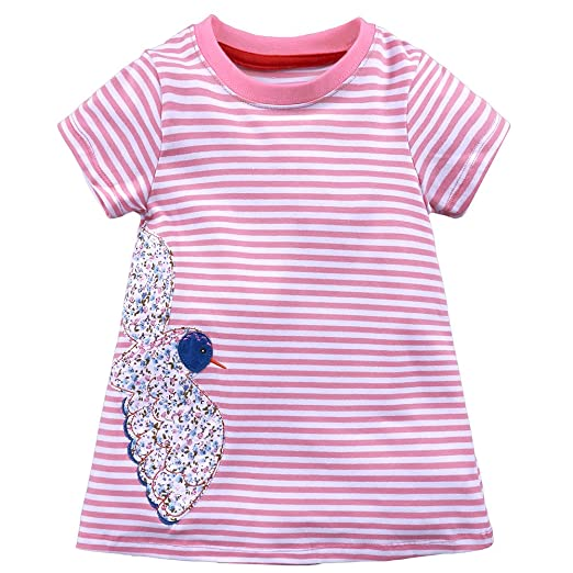 Amazon com: Kids Tales Girls Cotton Short Sleeve Casual Pink Dresses