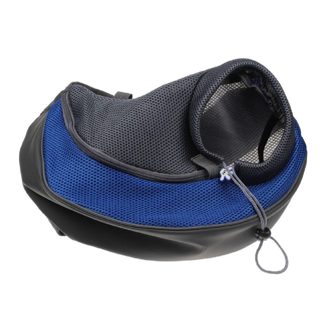 Sannysis® Gatto del cane del cucciolo Carrier Mesh Viaggi Tote Bag Sling Backpack (Blue L) (Blue L)