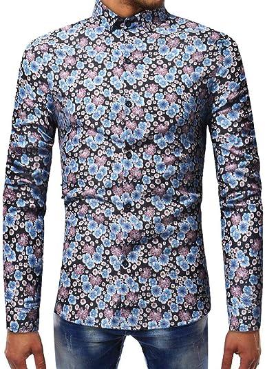 Rawdah_Camisetas De Hombre Manga Larga Camisa Estampada De Moda para Hombres Camisa Delgada De Manga Larga Casual Camisetas De Hombre: Amazon.es: Ropa y accesorios