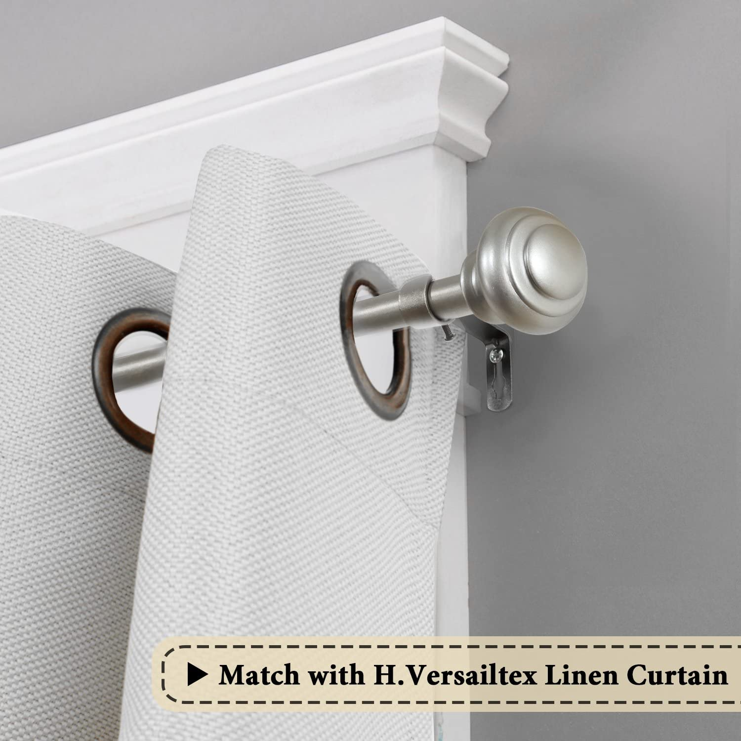 H.VERSAILTEX Elegant Window Treatment Single Curtain Rod Set,3/4 - Inch Diamter,48 - Inch to 84 - Inch, Nickel (Metal Rod and Hardware with Resin Finials): Home & Kitchen