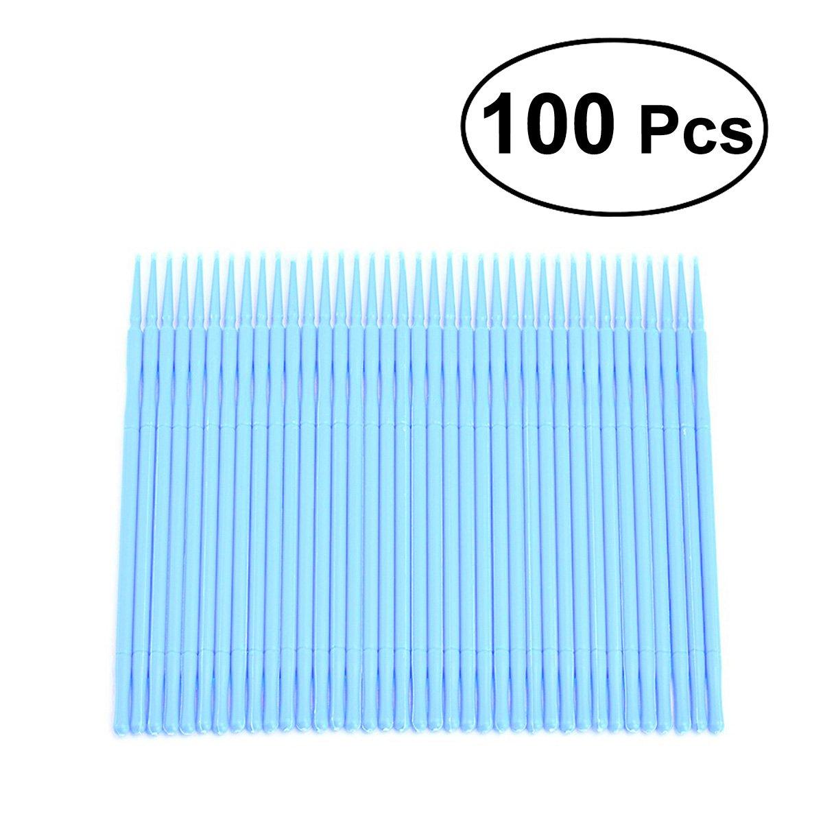 rosenice cotons-tiges 100pièces jetables applicateur pinceau Extensions de Cils Cils Brosse (Sky Blue)