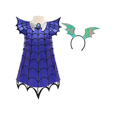 Vampirina Ghoul Girl Rocker Dress - Fits Sizes 4-6x Purple: Clothing