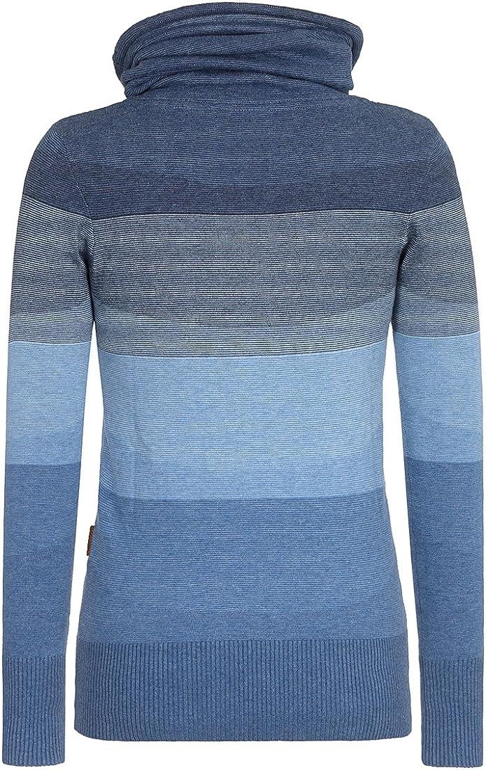 Naketano Damen Sweater Joao Schmierao III Pullover Blue Melange Striped