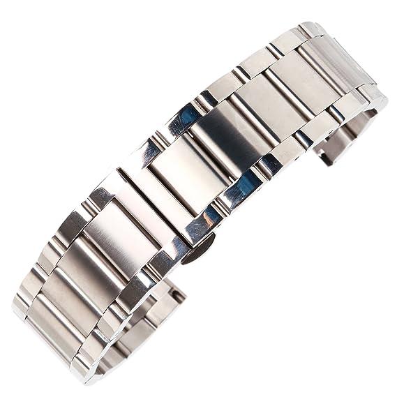 calidad de 20mm de plata mate sólida correa de reloj de ...