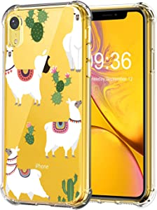 RicHyun Cactus Case for iPhone XR, Clear Llama Pattern Soft Flexible TPU Shockproof Case for iPhone XR 2018