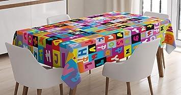 Image ofABAKUHAUS Resumen Mantele, Color Rompecabezas del Alfabeto, Estampado con la Última Tecnología Lavable Colores Firmes, 140 x 240 cm, Multicolor