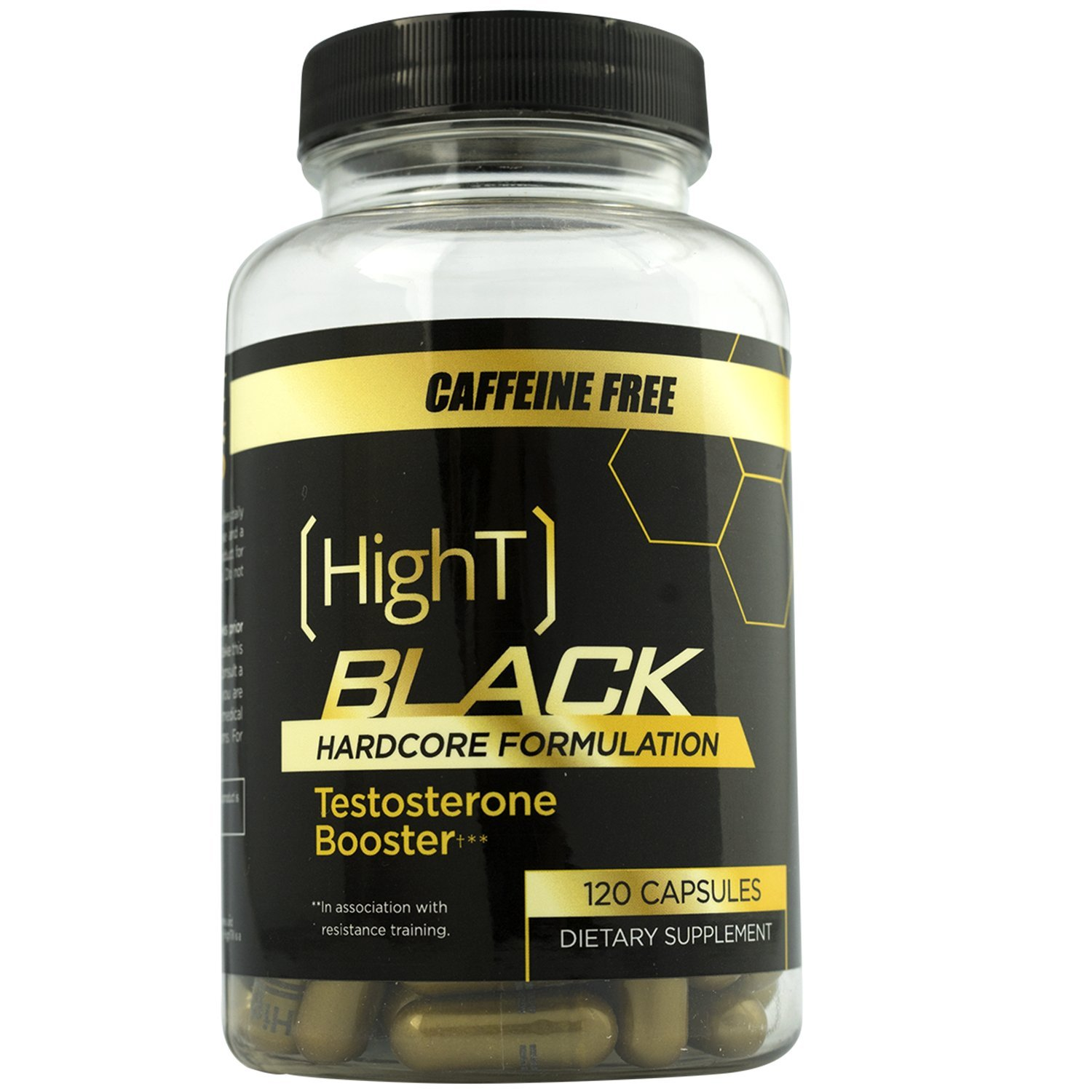 High T Black Caffeine Free, Testosterone Booster Pre Workout Hardcore Formulation - 120 capsules