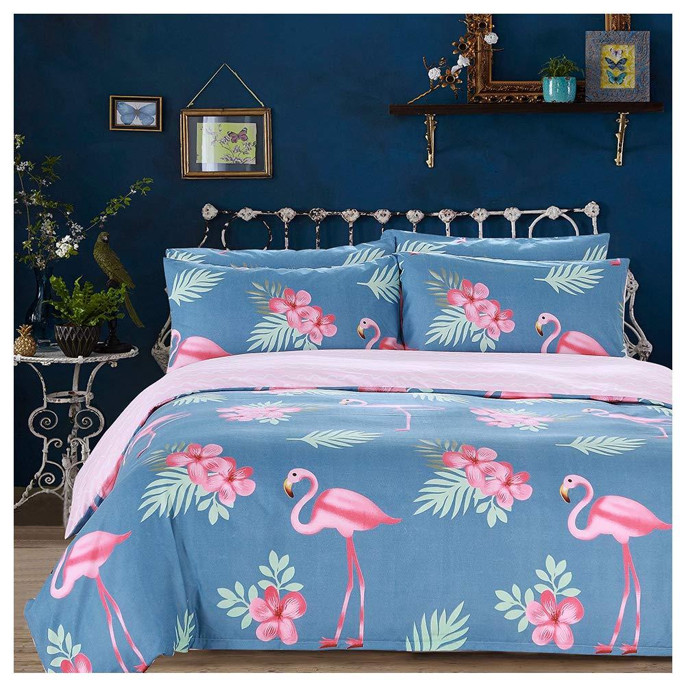 Arachnes Needle King Duvet Cover Set, 3 Piece (1 Duvet Cover and 2 Pillowcases) Comforter Cover Animal Botanical Print Bedding Set Living Room Decor Blue