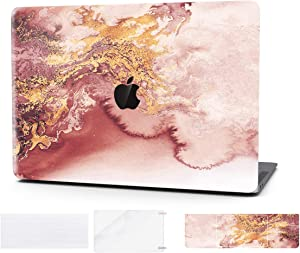 Laptop Case for Mac Pro 15 Inch Keyboard Cover Plastic Hard Shell Touch Bar 4 in 1 Bundle with Screen Protector for MacBook Pro 15 Inch (Model:A1707/A1990),Rose Marble