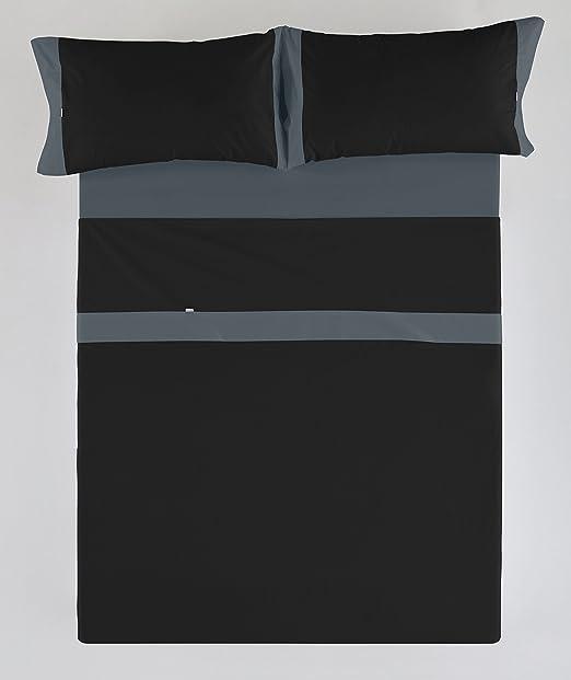 ESTELA - Juego de sábanas LISOS con APLIQUE color Negro-Gris (4 ...