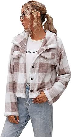Verdusa Women's Casual Single Breasted Buffalo Plaid Long Sleeve Fleece Jacket