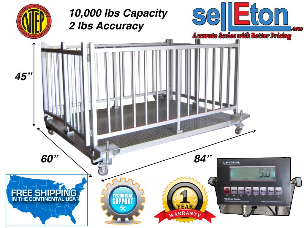 NTEP 84 x 60 x 45 Cattle /& Livestock Scale Cage System at 10,000 lb x 2 lb