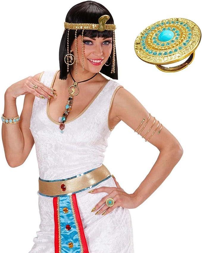 NET TOYS Anillo Egipcio de Cleopatra del Dedo anular Diosa Dedos Joyas Reina Oro Accesorio Traje Antiguo Oriente: Amazon.es: Juguetes y juegos