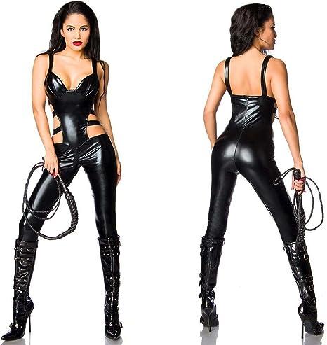 Costume Disfraz Mono Wetlook Disfraz Catwoman Negro Sexy Látex ...