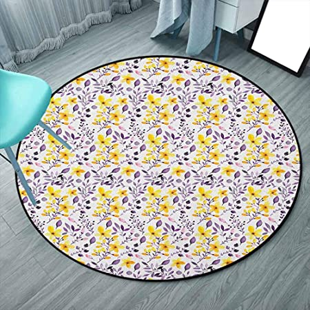 Flower Polyester Area Rug 5 Feet Round Yellow Purple White Pattern With Flowers And Leaves Seedling Foliage Spring Rural Artsy Print Round Solid Carpet For Living Room Bedroom Rugs 150cmx150cm Amazon Co Uk Kitchen