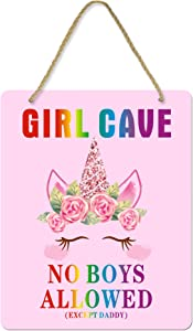 Uflashmi Girl Bedroom Decor Girl Cave Sign No Boys Allowed Except Dad Sign, Little Baby Girl Room Decor, 8X10 Inch, Unicorn