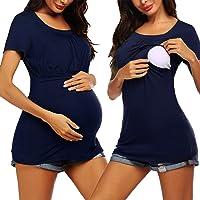Liu /& Qu Womens Plus Size Maternity Tops Short Sleeve Pregnancy Shirts 1X-3X