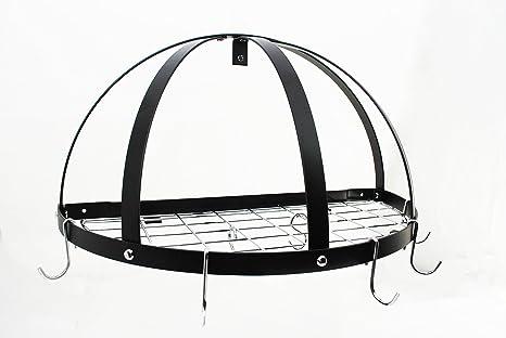 Amazon.com: Half Dome Pot rack w la rejilla en negro w cromo ...
