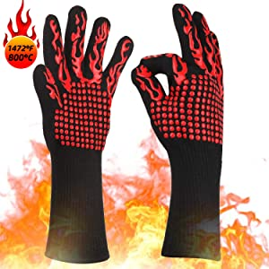 KITHELP BBQ Gloves, Grilling Gloves 1472℉ Extreme Heat Resistant Grill Gloves, Food Grade Kitchen Oven Mitts, Silicone Non-Slip Cooking Gloves for Barbecue, Cooking, Baking, Welding, Cutting