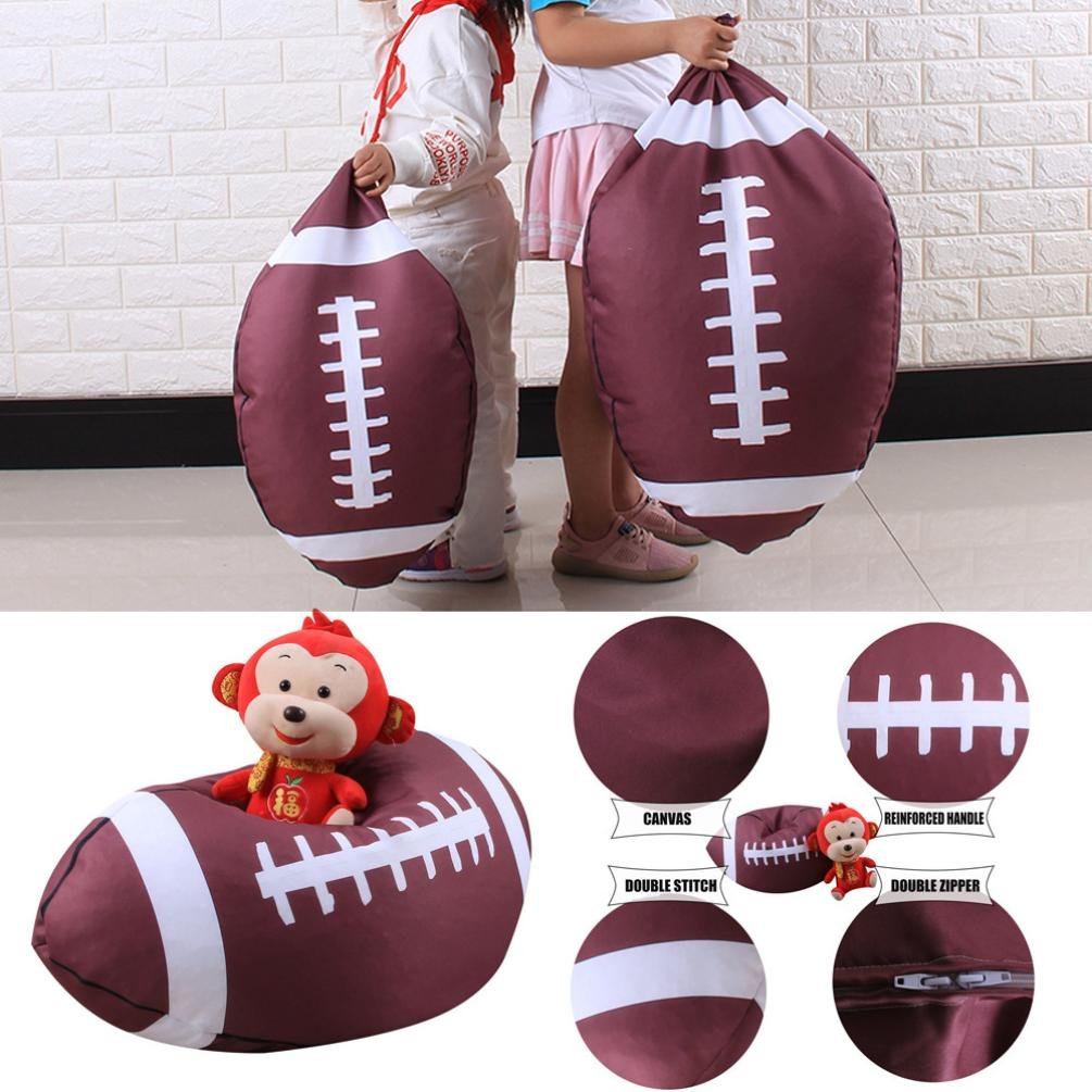 DDLBiz Kids Football Tossing Game Sofa Stuffed Animal Bean Bag Chair Organizer Box for Kids Toys (26 Inch)