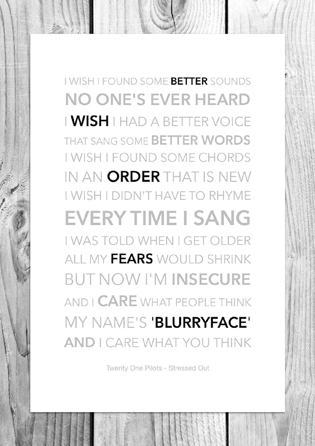 Twenty One Pilots Stressed Out Funky Lyric Art Print A4 Size Amazon Co Uk Kitchen Home