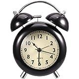 Analog Alarm Clock - Loud Alarm Clock Heavy Sleepers | Old Fashion, Twin Bell, Non Ticking, Night Light, Battery Operated Manual Alarm Clock (Black)