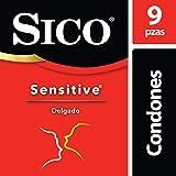 Condones de Látex, Sico Sensitive, Color Natural, Cartera con 9 Piezas