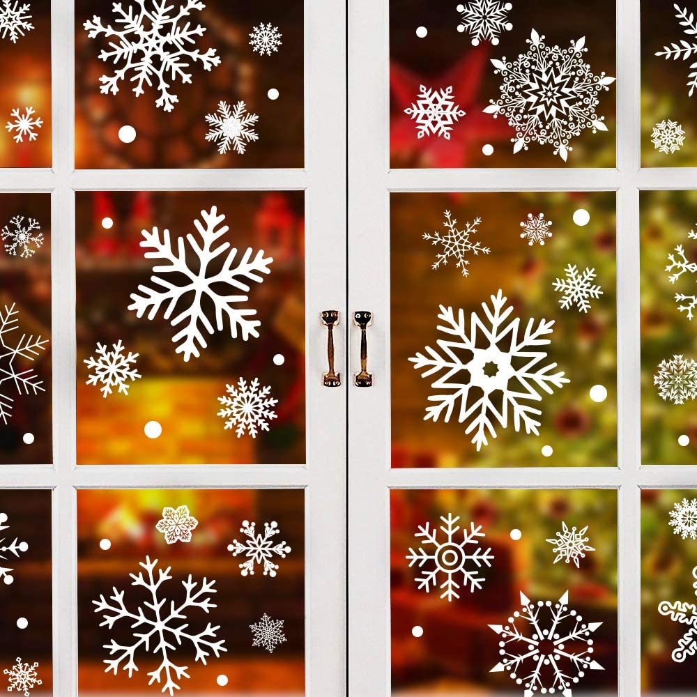 EZIGO 279Pcs Christmas Window Clings Christmas Windows Decorations Xmas Windows Stickers Holiday Winter Snowflake White Wonderland Decal Ornaments Party Decor Supplies( 9 Sheets )