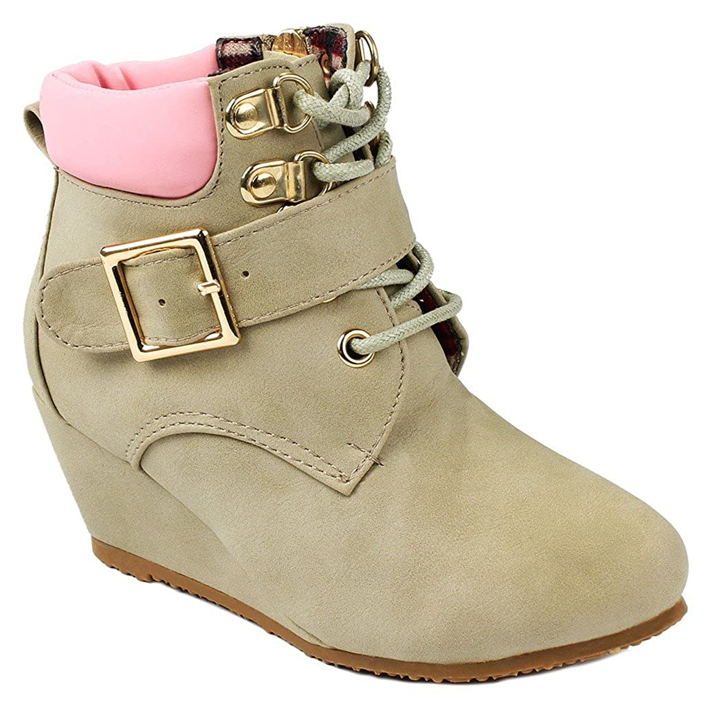 JJF Shoes Kids Girls Sally31 Gold Zipper//Buckle Decor Faux Nubuck Lace Up Wedge Ankle Boot Booties