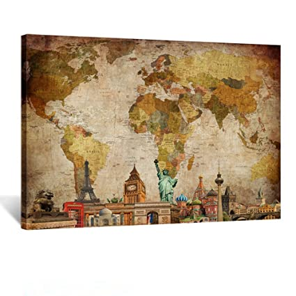Amazon kreative arts vintage world map canvas wall art retro kreative arts vintage world map canvas wall art retro map of the world canvas prints travel gumiabroncs Gallery