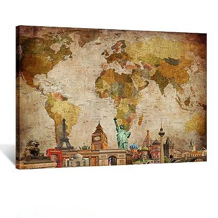 Amazon.com: Kreative Arts Vintage World Map Canvas Wall Art Retro ...