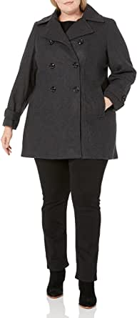 ANNE KLEIN Women's Plus Size Classic Double Breasted Coat