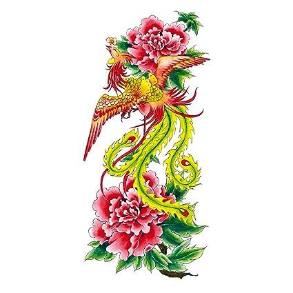 COKOHAPPY Temporales Tatuaje Peonía Flor Flower Fénix Phoenix ...