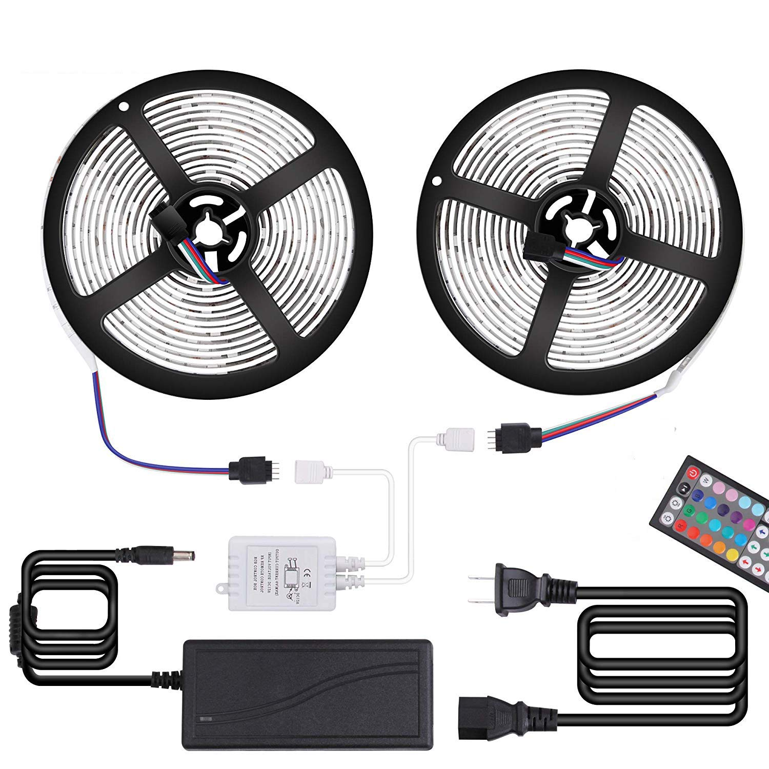 Targherle Led Strip Lights Led Light Strip DC12V 33Ft 10M 300leds Waterproof IP65 5050 SMD RGB LED Flexible Strip Light with 44key RF Remote Controller Double Sided Foam Tape and 5A Adapter