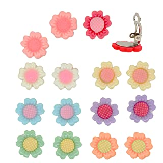 Princess-J Color Sun Flower Clip-On Earrings, Pack of 8 Pairs, for Kids Teen Girls