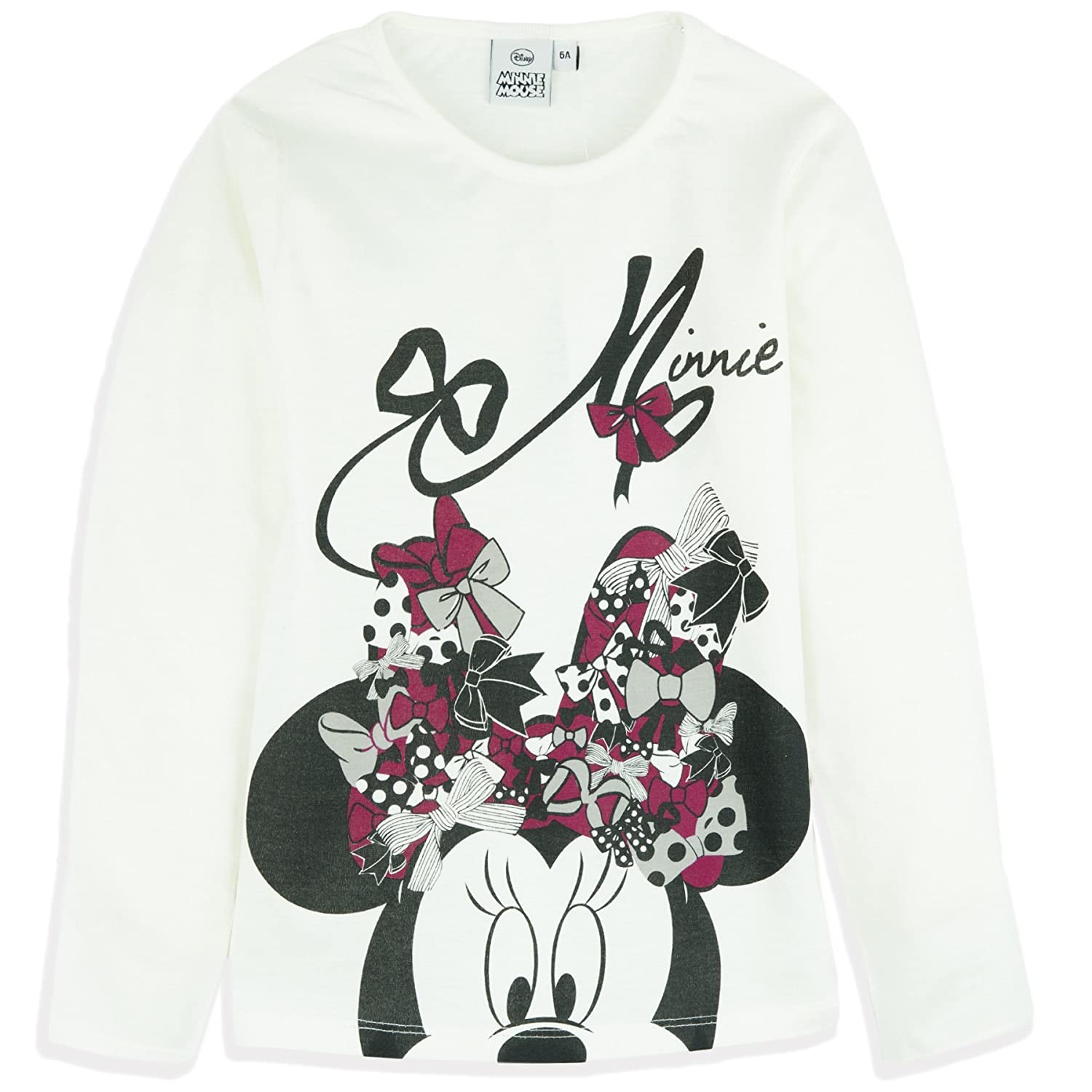 Disney Minnie Mouse Official Licensed Long Sleeve Top T-Shirt 100% Cotton 2-8 Years - New 2018/19
