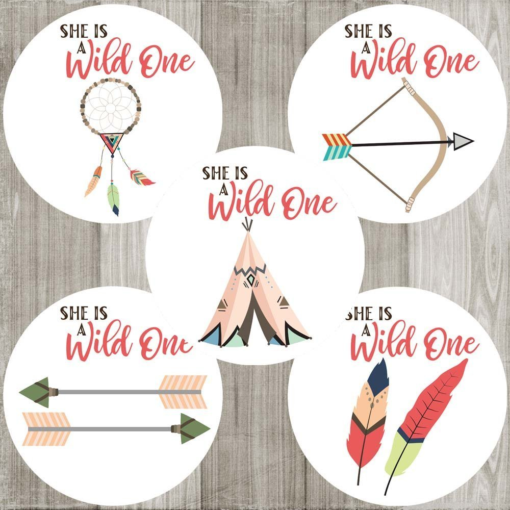 She is a Wild One Sticker Labels - Tribal Boho Girl Birthday Baby Shower Party Favors - Set of 50