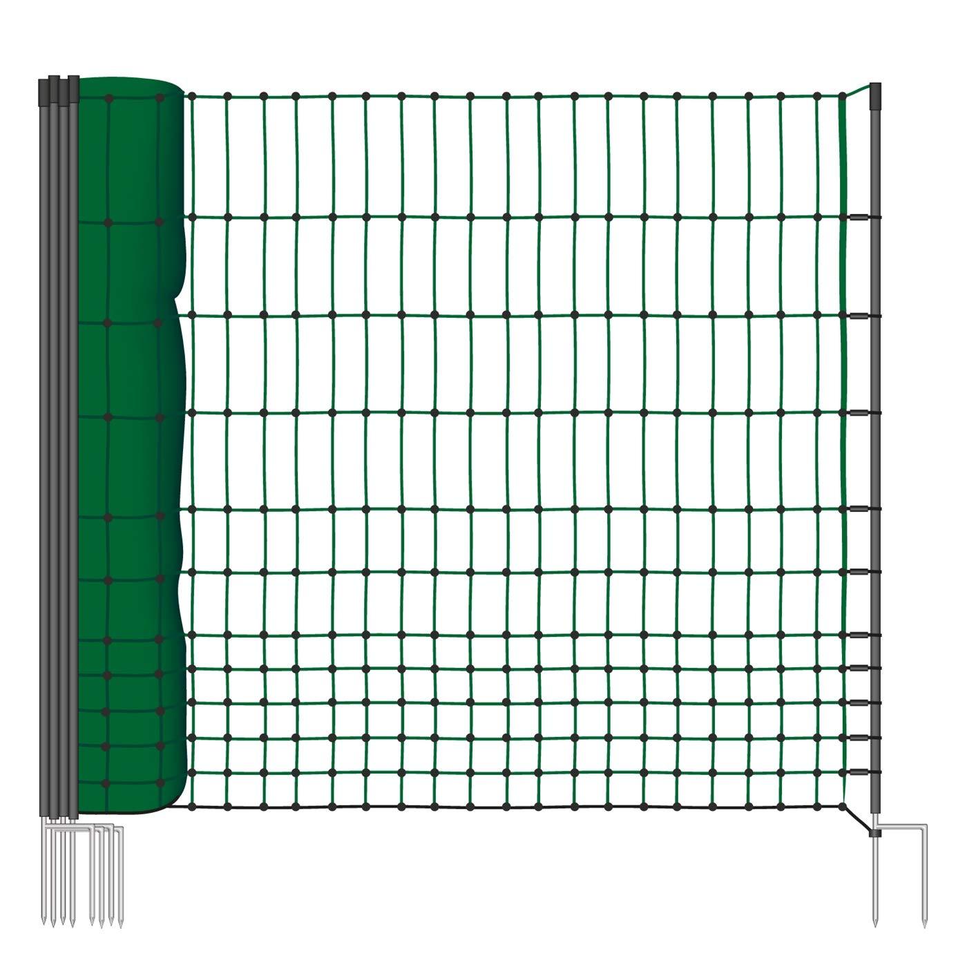 VOSS.farming 50m Geflügelnetz, Classic, 112 cm Netzhöhe, Hundenetz, Katzennetz, Gartensicherung, Weidezaun 112 cm Netzhöhe